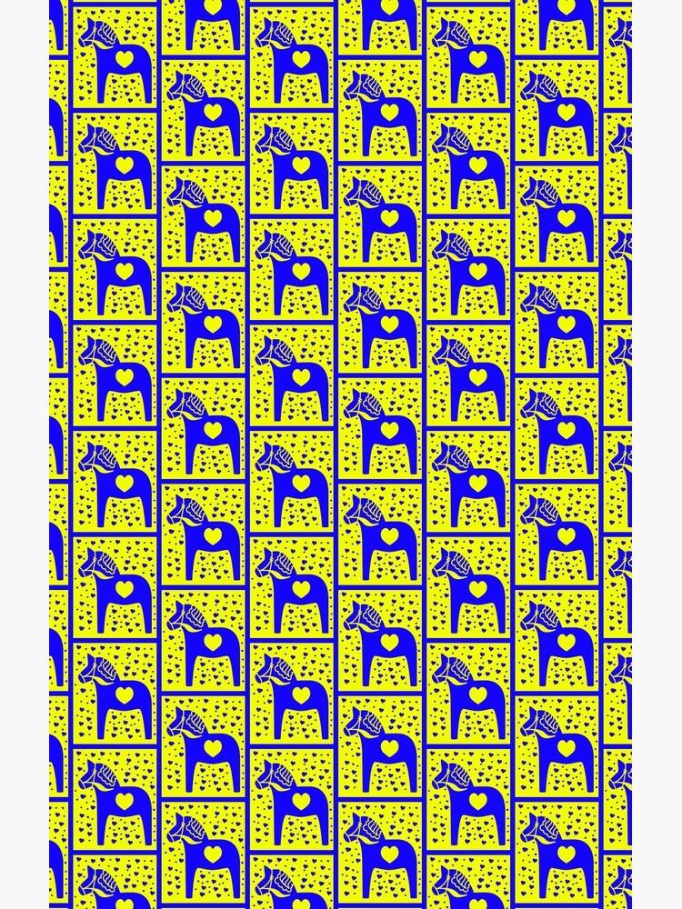 Schwedische Dala Horse Blue Stamped Look von funnytshirtemp