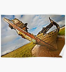 Decaying wreck on the river Wyre Poster