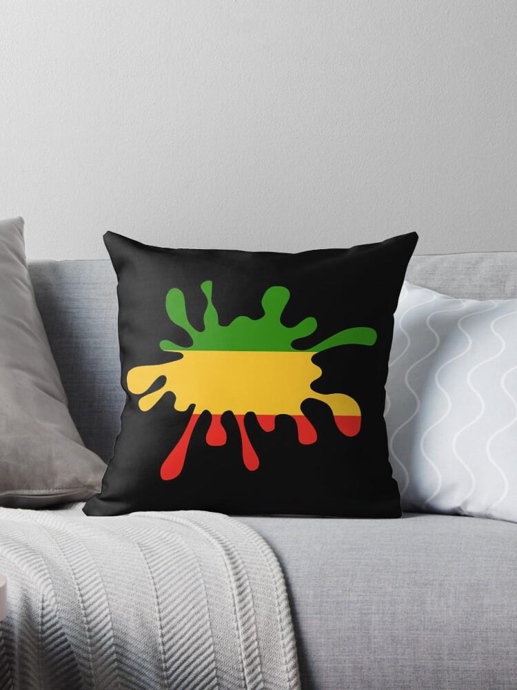 Fabulous Red Gold Green Rasta Paint Splat Throw Pillow By Imagemonkey Short Links Chair Design For Home Short Linksinfo