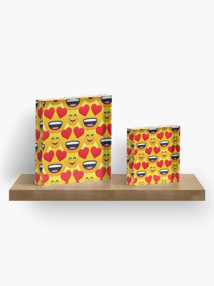Alternate view of Love emojis pattern Acrylic Block