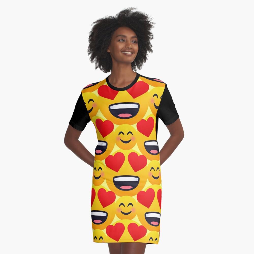 Love emojis pattern Graphic T-Shirt Dress