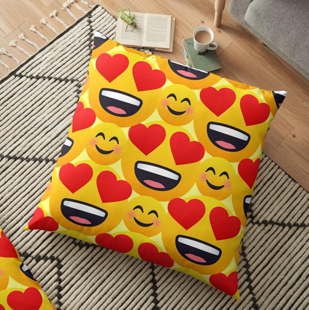 Love emojis pattern Floor Pillow