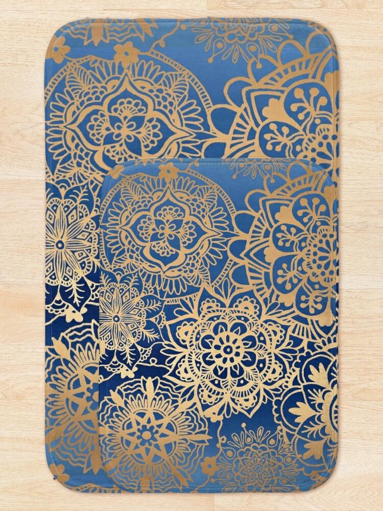 Alternate view of Blue and Gold Mandala Pattern Bath Mat
