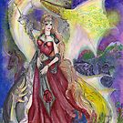 Unicorn Princess with White Dragon by Stephanie Small