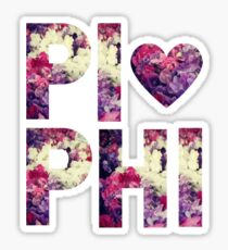 Pi Phi Sorority University College Print Floral Sticker