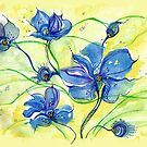 Watercolor African violets doodle by A little more Whirl
