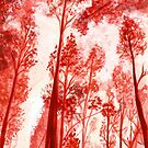 Watercolour monochrome Forest painting by A little more Whirl
