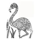 Color Your Own Zentangle Flamingo Art by BarefootDoodles