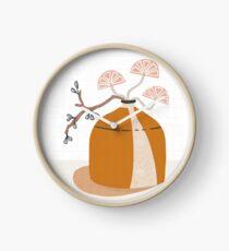 Orange pottery with plants Clock