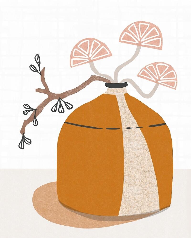 Orange pottery with plants by BirdsongPrints