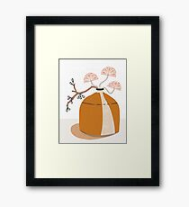 Orange pottery with plants Framed Print