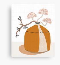 Orange pottery with plants Canvas Print