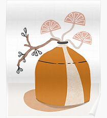 Orange pottery with plants Poster
