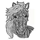 Color Your Own Horse Zentangle Art by BarefootDoodles