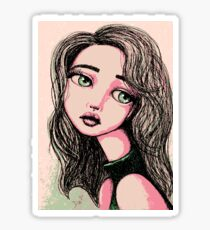 Green-Eyed Girl Glossy Sticker