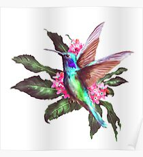hummingbird,flowers,plant,digtalartpaint,nature,color,bird,Herbs,garden,petunias.tiniest,iridescent,jewels,wings,nectar,colored,sunset,abstract, Poster