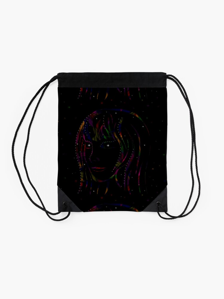 Alternate view of Maid of Stars and Rainbows Drawstring Bag