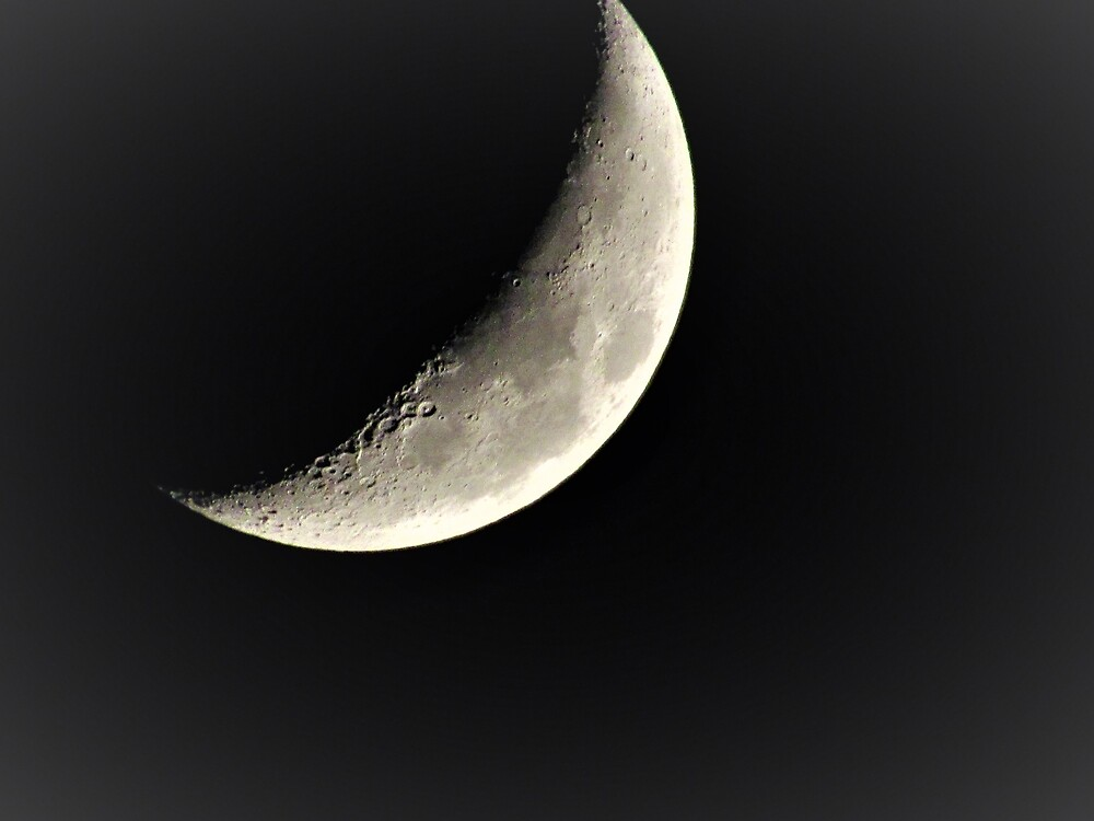 Waxing Crescent Moon with Craters by tomeoftrovius