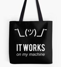 Bolsa de tela Encogínese funciona en mi máquina - Programa de excusa de programador - Texto blanco
