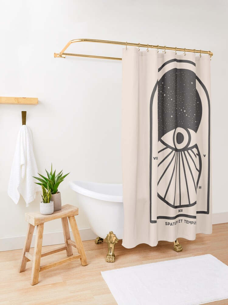 Alternate view of Space and Time Shower Curtain