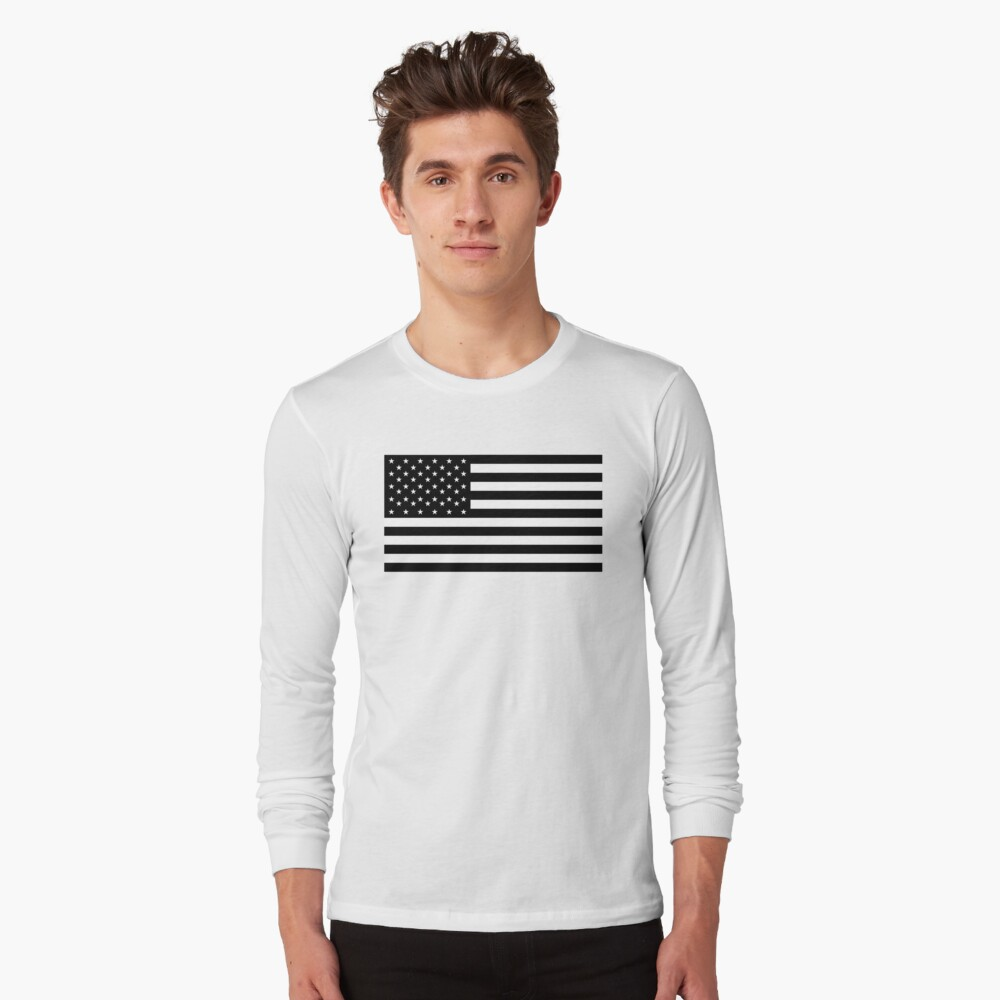 Bandera americana, STARS & STRIPES, EE. UU., América, negro sobre blanco Camiseta de manga larga