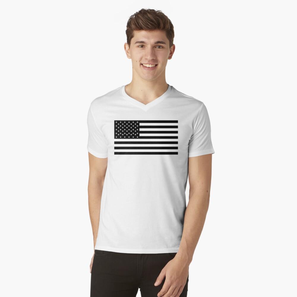 Bandera americana, STARS & STRIPES, EE. UU., América, negro sobre blanco Camiseta de cuello en V