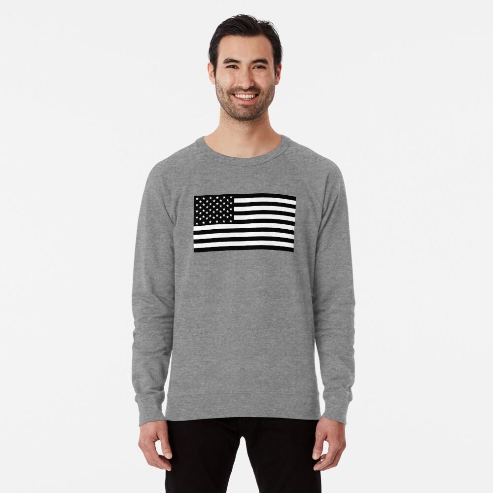 Bandera americana, STARS & STRIPES, EE. UU., América, negro sobre blanco Sudadera ligera