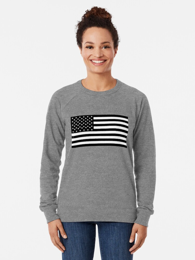 Vista alternativa de Sudadera ligera Bandera americana, STARS & STRIPES, EE. UU., América, negro sobre blanco