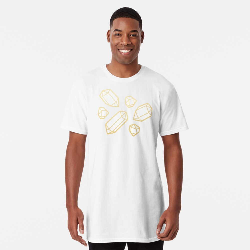 Gold and White Gemstone Pattern Long T-Shirt