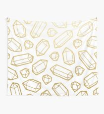 Gold and White Gemstone Pattern Wall Tapestry