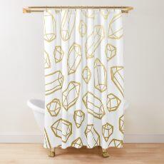 Gold und weißes Edelstein-Muster Duschvorhang