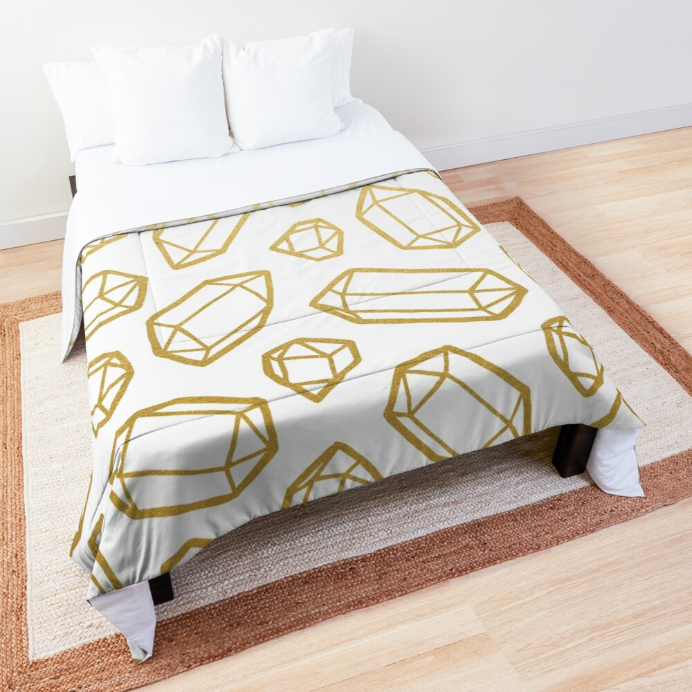 Gold and White Gemstone Pattern Comforter