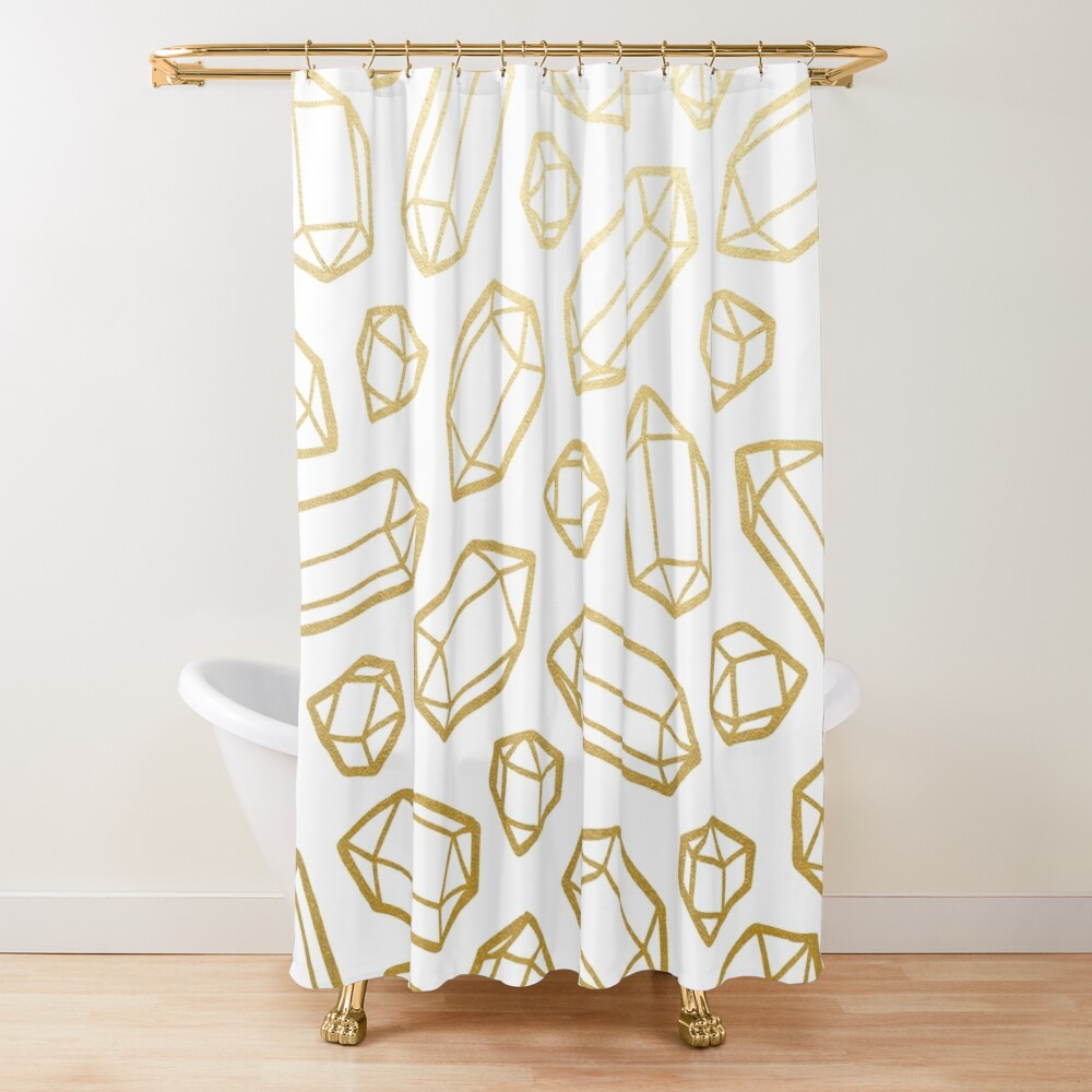 Gold and White Gemstone Pattern Shower Curtain