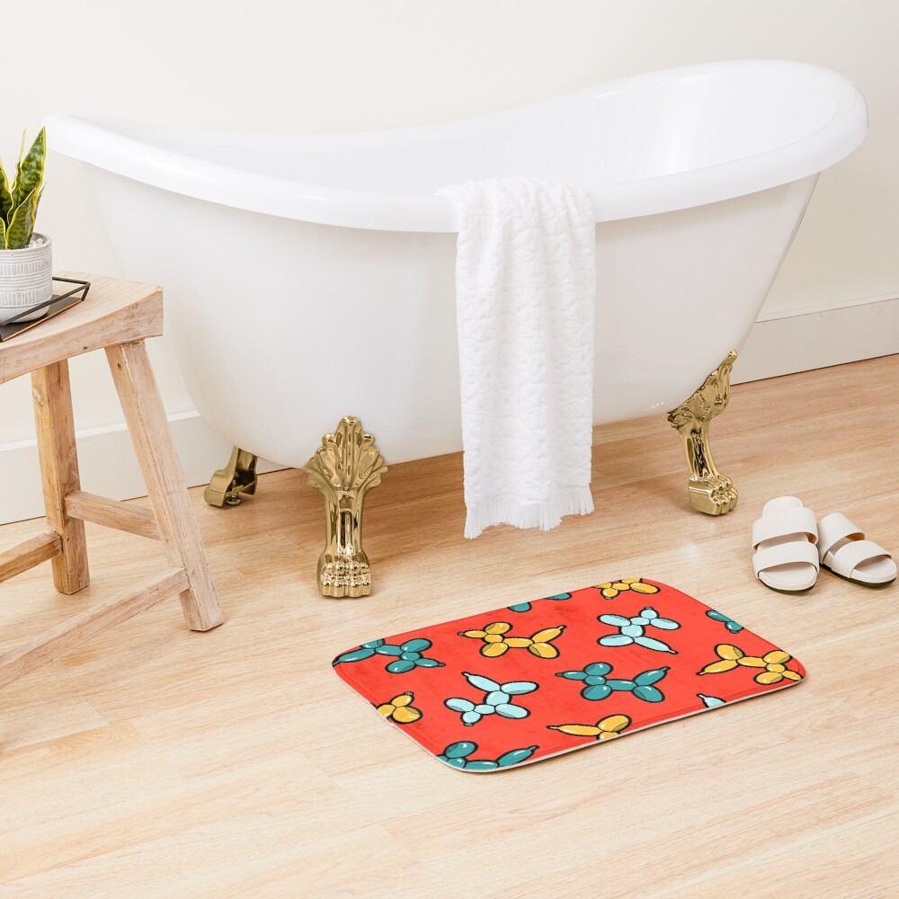 Balloon Animal Dogs Pattern in Red Bath Mat