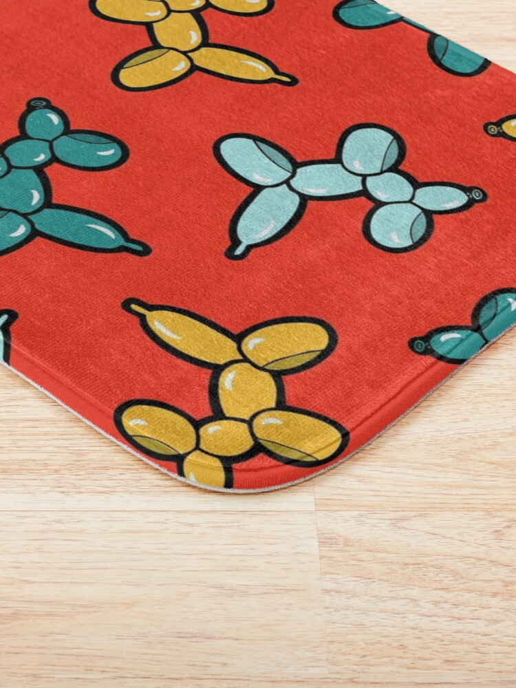 Alternate view of Balloon Animal Dogs Pattern in Red Bath Mat