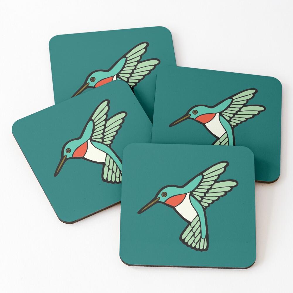 Hummingbird Pattern  Coasters (Set of 4)