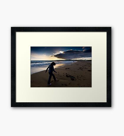 Sunset Walk On Garretstown Beach  Framed Print