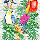 Macaws Parrots Exotic Birds on Tropical Flowers and Leaves by BluedarkArt