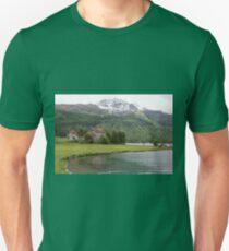 Crap da Sass Castle and Lake Silvaplana Unisex T-Shirt