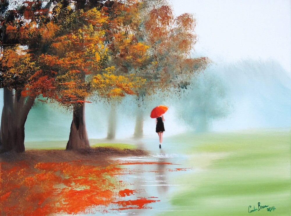 Woman with a red umbrella autumn landscape art poster by GORDON BRUCE ART