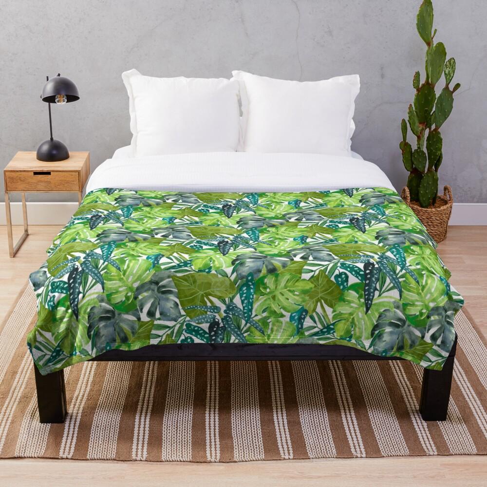 Tropical  Leaves Throw Blanket
