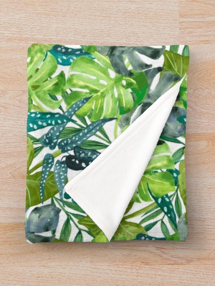 Alternate view of Tropical  Leaves Throw Blanket