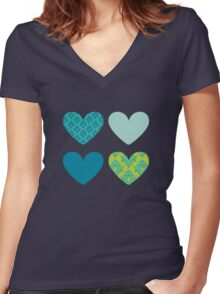 HEARTS QUAD 6 Women's Fitted V-Neck T-Shirt