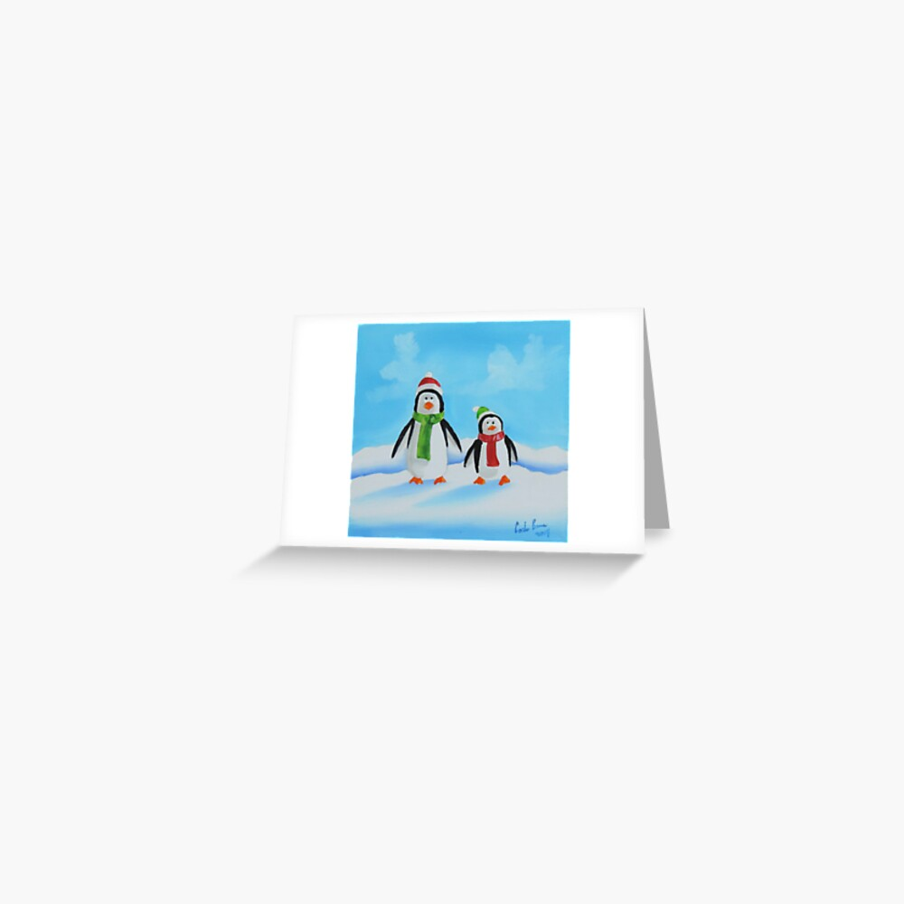 Little penguins wearing scarves Greeting Card