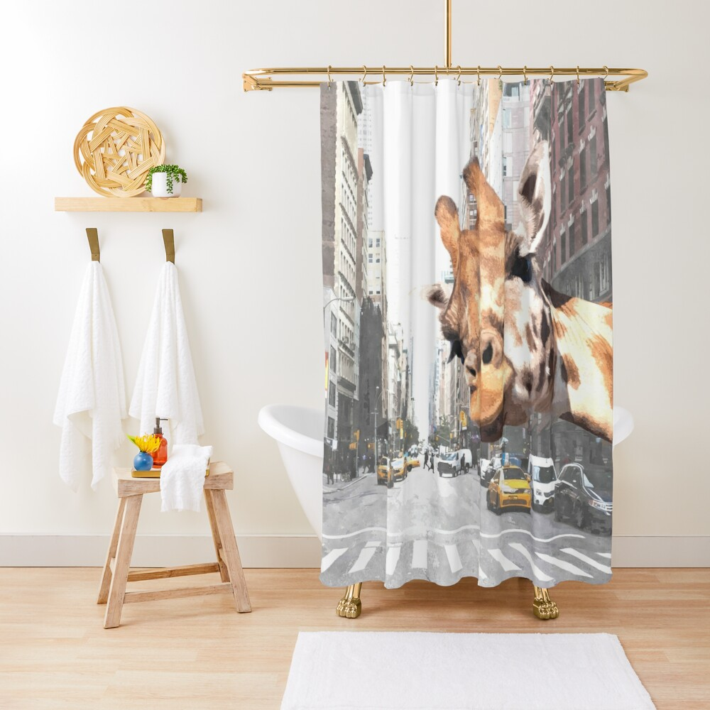 Selfie Giraffe in New York Shower Curtain