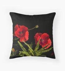 poppies in black Throw Pillow