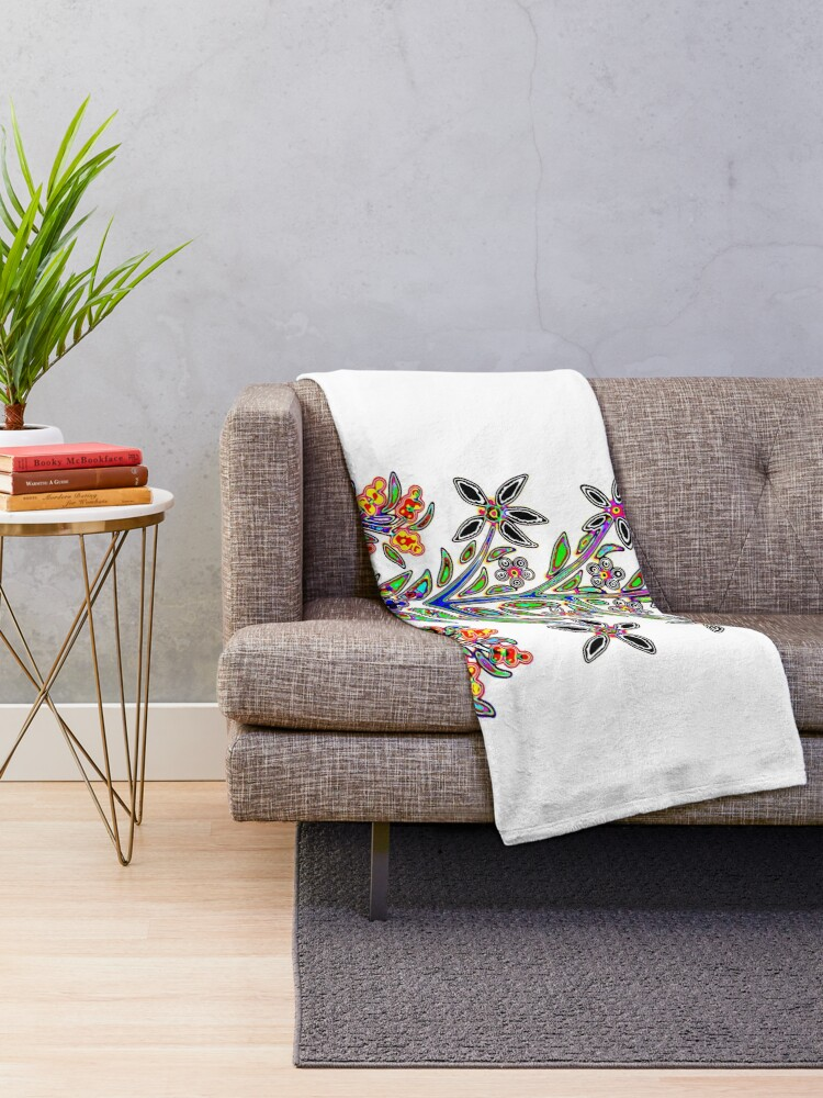 Alternate view of Dinadon Flower Throw Blanket
