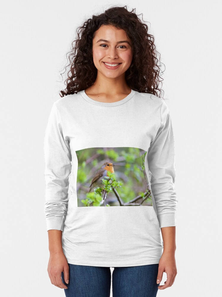 Alternate view of Robin (Erithacus Rubecula) Perched in Woodland Long Sleeve T-Shirt