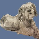 Scruffy Dog looking at you, illustration original work by Monica Batiste