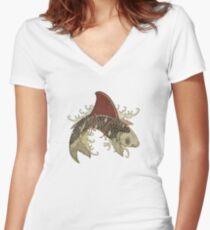 koi shark fin 03 Women's Fitted V-Neck T-Shirt
